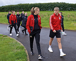 CARDIFF, WALES - Thursday, April 4, 2019: Wales' Kayleigh Green (L) and Gemma Evans during a pre-match team walk at the Vale Resort ahead of an International Friendly match between Wales and Czech Republic at Rodney Parade. (Pic by David Rawcliffe/Propaganda)