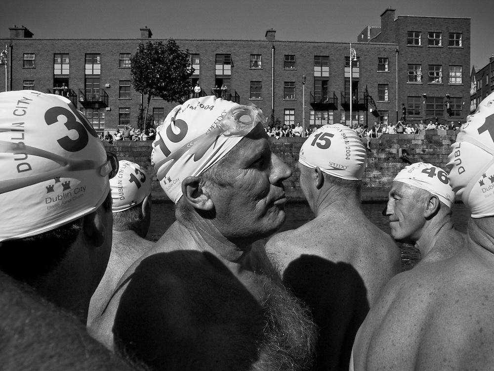 Competitors preparing to for the 2004 Liffey Swim, Dublin, Ireland, September 2004.