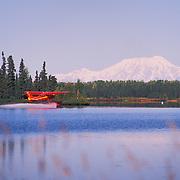Sustina Air Service Float Plane Landing With Mount Foraker In Distance, George Parks Highway Milepost 76, Lake Kashwitna, Alaska USA