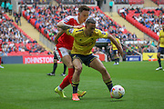 Kemar Roofe (Oxford United) hold the ball during the Johnstone's Paint Trophy Final between Barnsley and Oxford United at Wembley Stadium, London, England on 3 April 2016. Photo by Mark P Doherty.