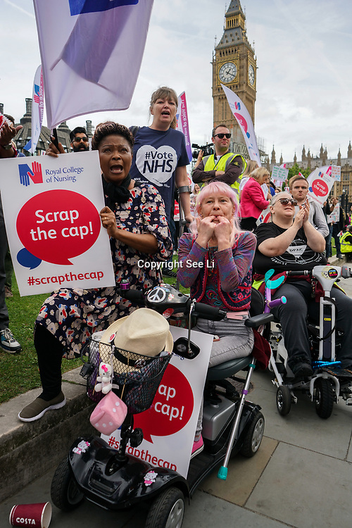 London, England, UK. 6th September 2017. The Royal collage of Nursing held a demonstration on Parliament square, to demand the goverment ends the 1% pay carp.