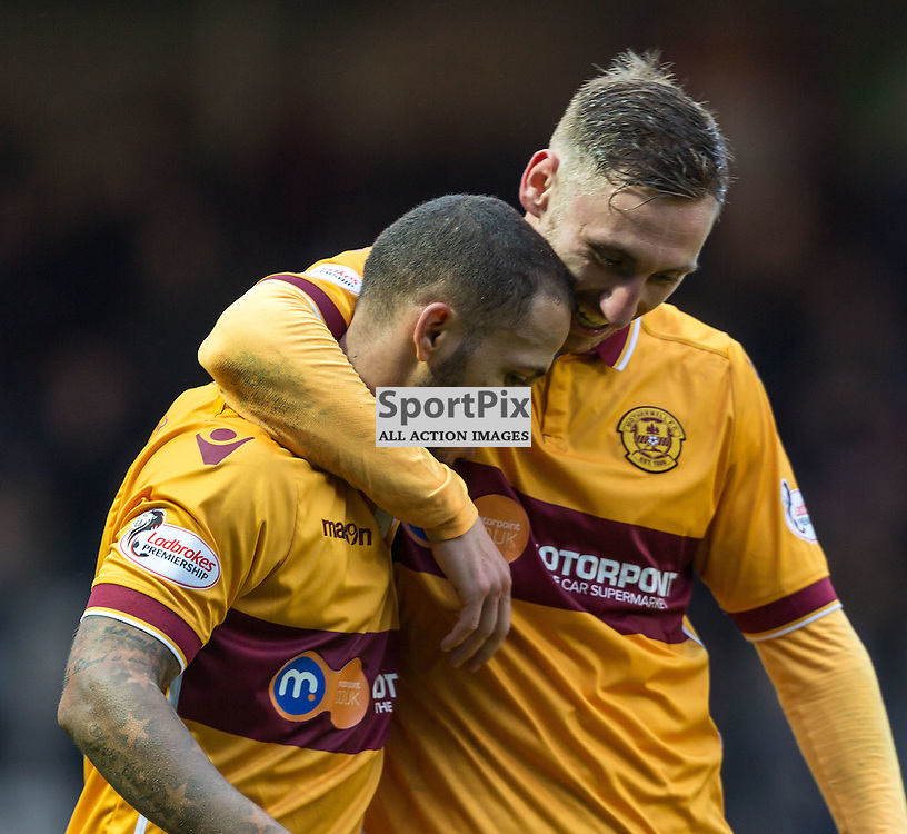 Lionel Ainsworth and Louis Moult celebrate his goal during the match between Motherwell and Ross County (c) ROSS EAGLESHAM | Sportpix.co.uk