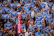 The crowd holds signs thanking veterans at the Democratic National Convention on Thursday, September 6, 2012 in Charlotte, NC.