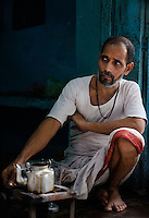 VARANASI, INDIA - CIRCA NOVEMBER 2016: Portrait of Chai Tea seller in Varanasi of Old Varanasi.