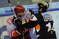 31.01.2012, Eisstadion Liebenau, Graz, AUT, EBEL, Graz 99ers vs HK Acroni Jesenice, im Bild Guillaume Lefebvre, (99ers, #14), Jan Bercic, (Jesenice, #77) // during the ice hockey game between Graz 99ers and HK Acroni Jesenice at the Eisstadion Liebenau, Graz, Austria, 2012/01/31, EXPA Pictures © 2012, PhotoCredit: EXPA/ S. Zangrando