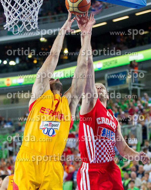 Xavier Rey #7 of Spain vs Luka Zoric #14 of Croatia during basketball match between National teams of Spain and Croatia in 3rd Place game at Day 19 of Eurobasket 2013 on September 22, 2013 in Arena Stozice, Ljubljana, Slovenia. (Photo by Vid Ponikvar / Sportida)