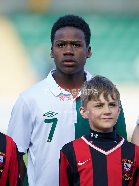 BARRY, WALES - Tuesday, April 30, 2013: Wales' Elijah Chilekwa lines-up to face Switzerland before the Under-15's International Friendly match at Jenner Park. (Pic by David Rawcliffe/Propaganda)