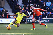 Nigel Atangana and Andrew Shinnie during the EFL Sky Bet League 2 match between Luton Town and Cheltenham Town at Kenilworth Road, Luton, England on 24 February 2018. Picture by Antony Thompson.