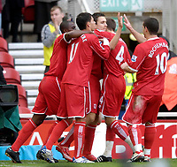Photo: Jed Wee/Sportsbeat Images.<br /> Middlesbrough v Arsenal. The FA Barclays Premiership. 09/12/2007.<br /> <br /> Middlesbrough celebrate with goalscorer Stewart Downing (C).