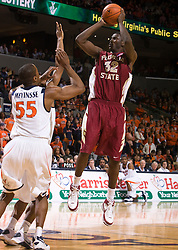 Florida State center Solomon Alabi (32) shoots a jump shot against UVA. The Virginia Cavaliers fell to the Florida State Seminoles 73-62 in NCAA Basketball at the John Paul Jones Arena on the Grounds of the University of Virginia in Charlottesville, VA on January 24, 2009.