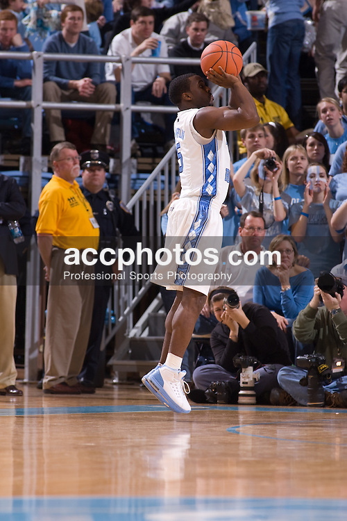 19 January 2008: North Carolina Tar Heels guard Ty Lawson (5) during a 93-84 loss to the Maryland Terrapins at the Dean Smith Center in Chapel Hill, NC.
