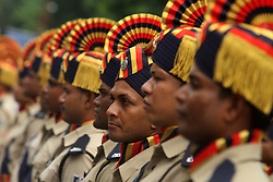 August 13, 2017 - Bhubaneswar, Orissa, India - Armed Police force, students of National Credit Corps and Scout Guide look in their ceremonial dress as they march past on the final and full dress rehearsal ahead of the 70th Independence Day celebration in the eastern Indian state Odisha's capital city Bhubaneswar on 13 August 2017. (Credit Image: © Str/NurPhoto via ZUMA Press)