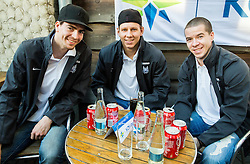 Miha Verlic of Slovenia, Miha Stebih of Slovenia and Ken Ograjensek of Slovenia of Slovenian Ice Hockey National Team at meeting with their supporters at day off during 2015 IIHF World Championship, on May 9, 2015 in Restaurant Zadni Vratka, Stodolni Street, Ostrava, Czech Republic. Photo by Vid Ponikvar / Sportida