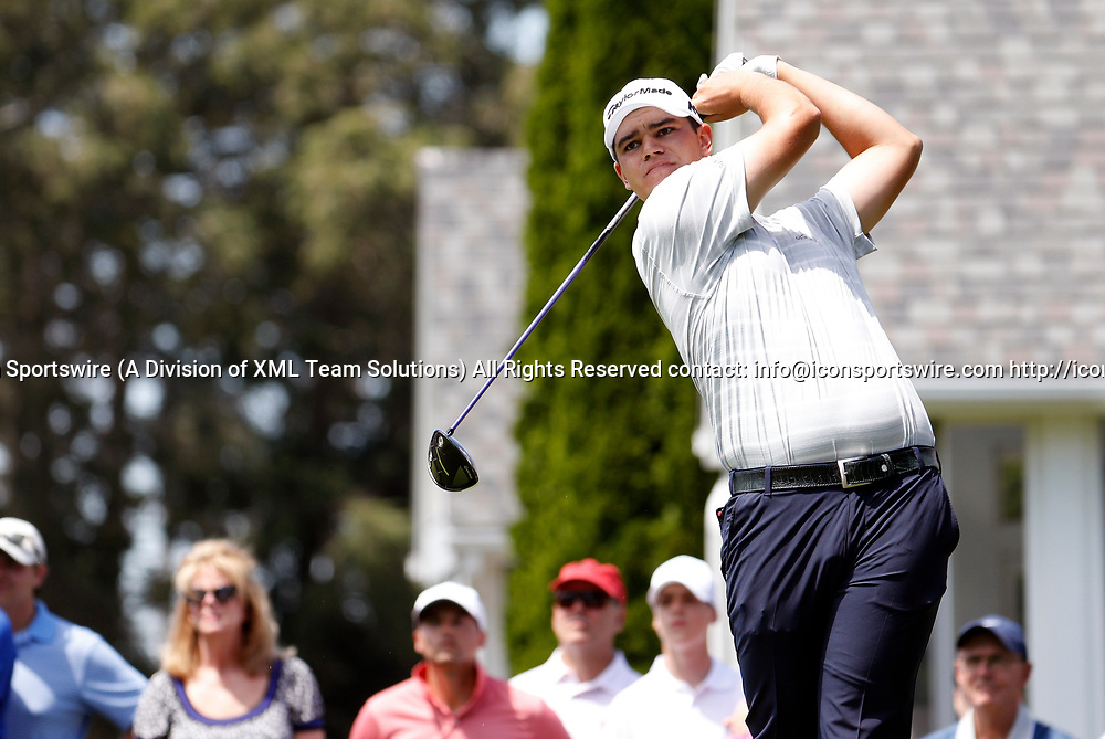 CROMWELL, CT - JUNE 24: Beau Hossler of the United States drives from the 6th tee during the third round of the Travelers Championship on June 24, 2017, at TPC River Highlands in Cromwell, Connecticut. (Photo by Fred Kfoury III/Icon Sportswire)