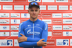 March 1, 2019 - Jebel Jais, United Arab Emirates - Stepan Kurianov of Russia and Team Gazprom-Rusvelo, at the podium at the end of the sixth Rak Properties Stage of UAE Tour 2019, ahead of Tom Dumoulin (Sunweb Team), a 180km with a start from Ajman and finish in Jebel Jais. .On Friday, March 1, 2019, in Jebel Jais, Ras Al Khaimah Emirate, United Arab Emirates. (Credit Image: © Artur Widak/NurPhoto via ZUMA Press)