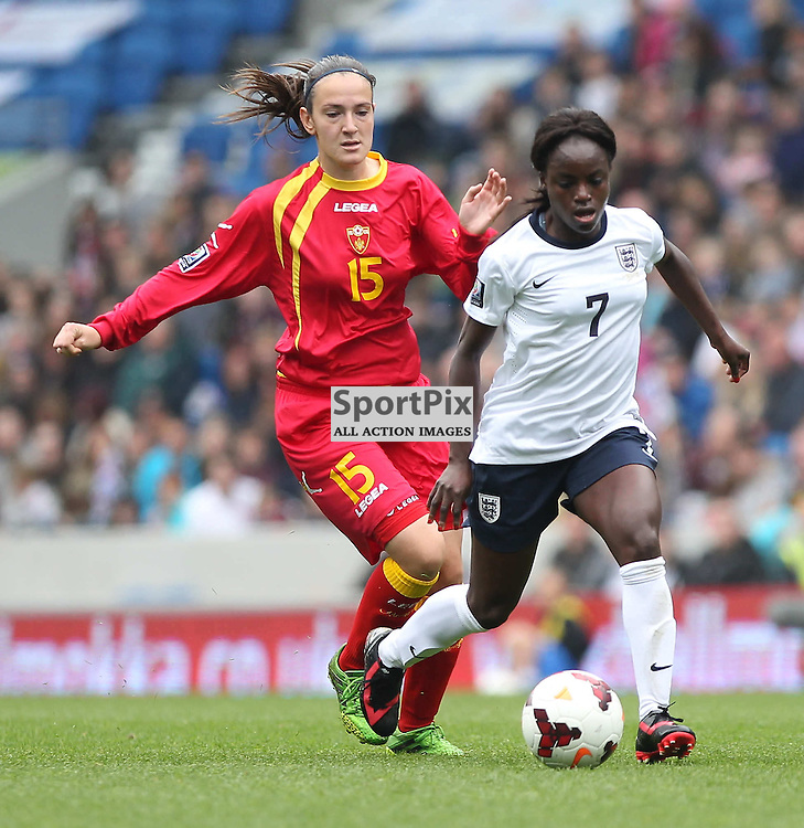 England's Eniola Aluko during the FIFA Women's World Cup qualifier match between England and Montenegro at the American Express Community Stadium, Brighton, 5th April 2014 © Phil Duncan | SportPix.org.uk