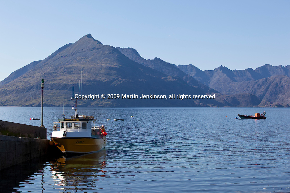 Gars-Bheinn and the Cullin Hills from Elgol harbour.