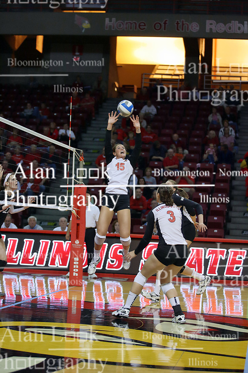 13 October 2011: Kristin Stauter sets during an NCAA volleyball match between the Indiana State Sycamores and the Illinois State Redbirds at Redbird Arena in Normal Illinois.
