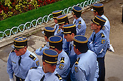A group of Gendarme officers during the annual Bastille Day celebrations though the streets of the French capital .