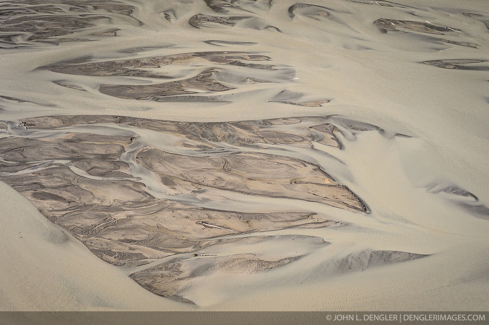 The gravel bars of the braided Chilkat River take on the form of a bird in done in northwestern coast art style.