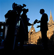 UK. London. The Village Green: From Blair to Brexit.<br /> A story on the relationship between the Media, Politicians and the public as they come together on College Green, a small patch of land next to The Houses of Parliament in Westminster. <br /> Photo shows a camera crew in action in 2007.<br /> Photo©Steve Forrest/Workers' Photos