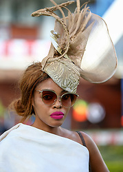 Durban. 070718. Fashion Theme for the 2018 Vodacom Durban July. - It Is Time - Every year a new theme is released to get the creative juices of the visitors and fashion desighners flowing. Picture Leon Lestrade. African News Agency/ANA. Thembi Vundla dressed by Zandile Masondo