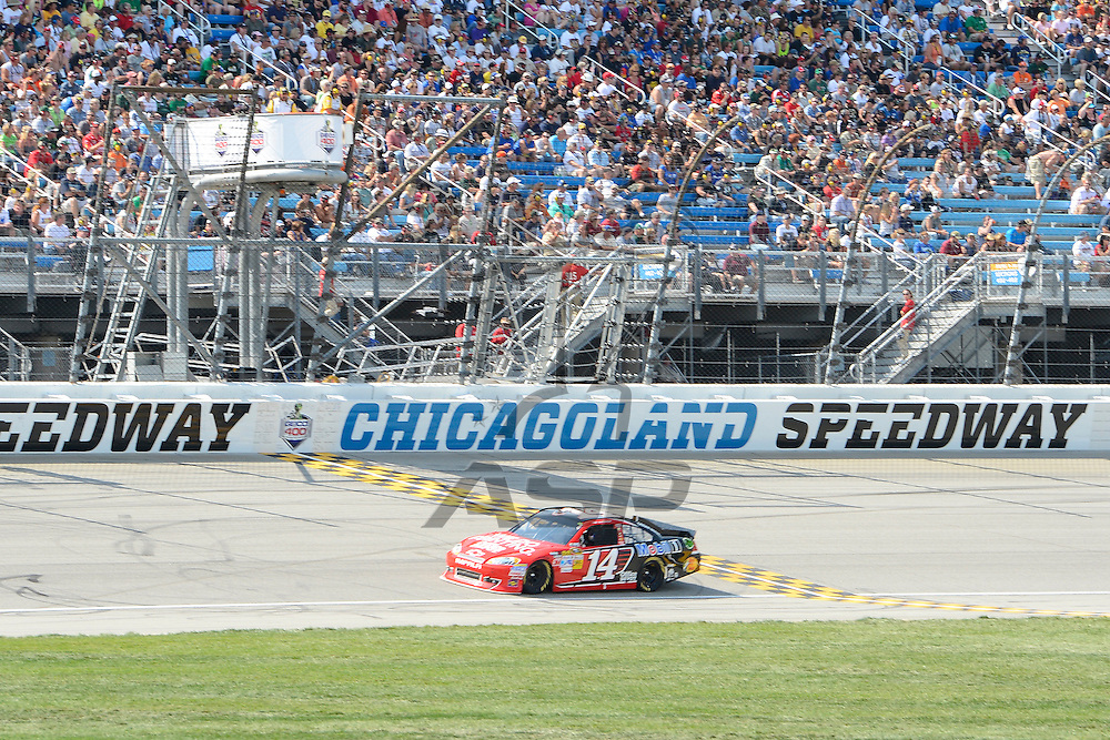 Joliet, IL - SEP 16, 2012: Tony Stewart (14) during the Geico 400 at the Chicagoland Speedway in Joliet, IL.