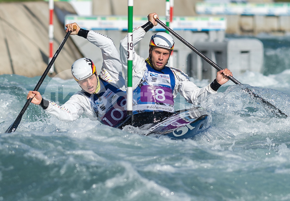 Robert Behling and Thomas Becker of Germany compete in the C2 during the ICF Canoe Slalom World Championship 2015 at Lee Valley White Water Centre, London, United Kingdom on 19 September 2015. Photo by Vince  Mignott.