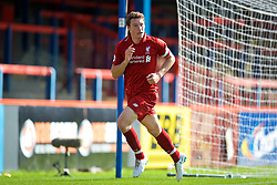 LONDON, ENGLAND - Saturday, September 29, 2018: Liverpool's captain Matty Virtue celebrates scoring the third goal during the Under-23 FA Premier League 2 Division 1 match between Chelsea FC and Liverpool FC at The Recreation Ground. (Pic by David Rawcliffe/Propaganda)