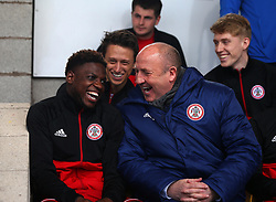 Accrington Stanley manager John Coleman shares a joke with Offrande Zanzala of Accrington Stanley - Mandatory by-line: Robbie Stephenson/JMP - 14/04/2018 - FOOTBALL - Wham Stadium - Accrington, England - Accrington Stanley v Exeter City - Sky Bet League Two