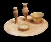 Calcite table and vessels, Pharonic Egyption