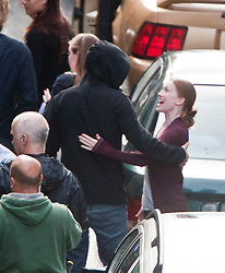 """Brad Pitt's co-star Mireille Enoson, and family on the set of the movie """"World War Z"""" being shot in the city centre of Glasgow. The film, which is set in Philadelphia, is being shot in various parts of the Glasgow, transforming it to shoot the post apocalyptic zombie film."""