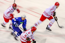 Miha Verlic of Slovenia during Ice Hockey match between National Teams of Slovenia and Poland in Round #2 of 2018 IIHF Ice Hockey World Championship Division I Group A, on April 23, 2018 in Budapest, Hungary. Photo by David Balogh / Sportida
