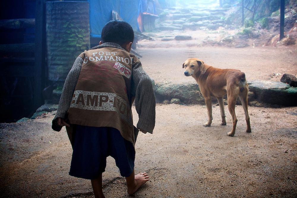 Child playing with a dog at Golden Rock, Kyaiktiyo, Myanmar.