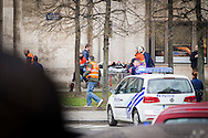 Rescue workers at the scene after the explosion at Maelbeek Metro station in Brussels. Here at Rue Joseph II at the EU Commission for Agri. Photo: Erik Luntang