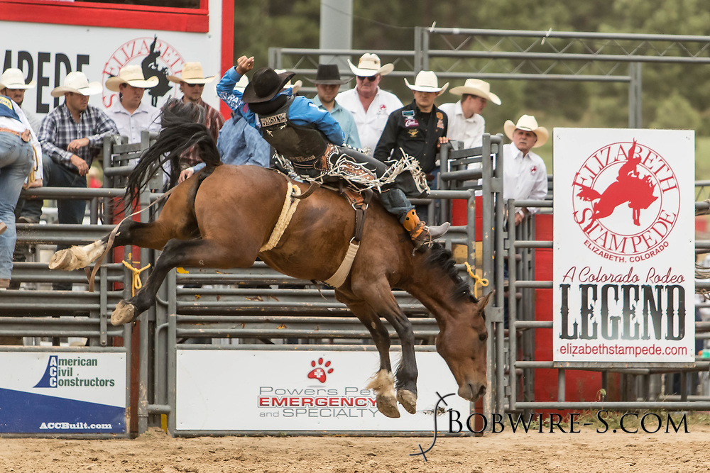 Bareback rider Steven Dent rides Summit Pro Rodeo's Pretty Face during the third performance of the Elizabeth Stampede on Sunday, June 3, 2018.