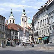 Ljubljana city centre. Ljubljana, Slovenia.