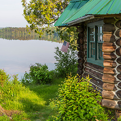 Cabin 8 next to Long Pond outside the Appalachian Mountain Club's Gorman Chairback Lodge.