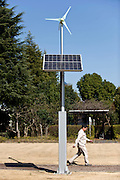 An LED street light powered by both solar and wind energy stands in the grounds of Toshiba Corp.'s Fuchu factory in Tokyo, Japan on Friday 05 March  2010.