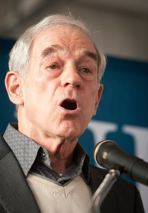 Presidential hopeful, Republican Congressman Ron Paul of Texas, returns to NH after his third place Iowa finish, with a campaign rally in an airplane hanger at Jet Aviation in Nashua, NH.