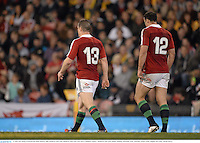 11 June 2013; Brian O'Driscoll and Jamie Roberts, right, British & Irish Lions. British & Irish Lions Tour 2013, Combined Country v British & Irish Lions, Hunter Stadium, Newcastle, NSW, Australia. Picture credit: Stephen McCarthy / SPORTSFILE