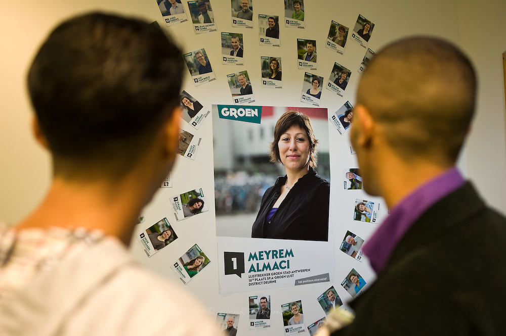 Campaign posters for the upcoming local elections in which Meyrem Almaci will head the Green party for Antwerpen. Belgium, 2012