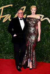 Giles Deacon and Gwendoline Christie attending the British Fashion Awards at the London Coliseum, St Martin's Lane, in London. PRESS ASSOCIATION Photo. Picture date: Monday 23rd November, 2015. Photo credit should read: Ian West/PA Wire.