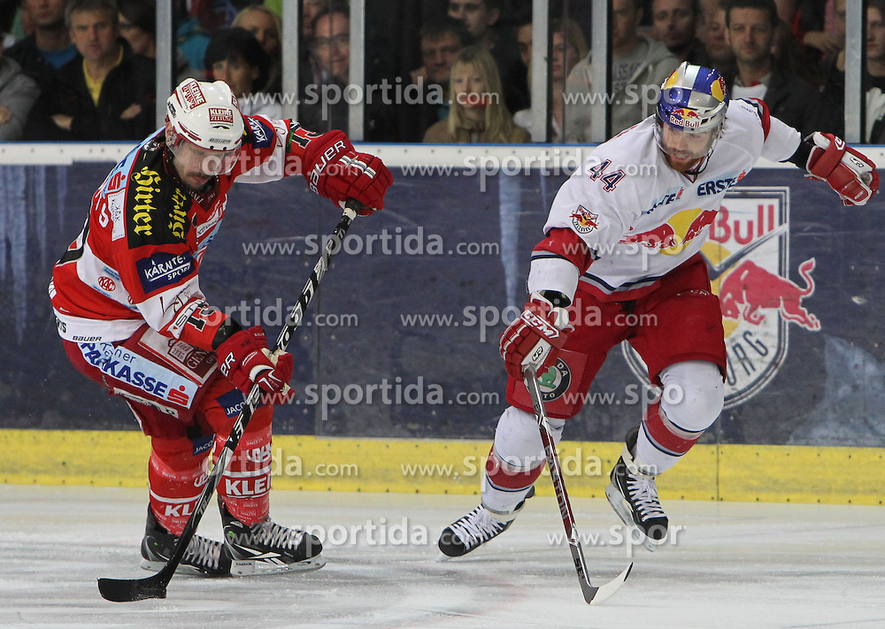 07.04.2011, Volksgarten Arena, Salzburg, AUT, EBEL, FINALE, EC RED BULL SALZBURG vs EC KAC, im Bild Douglas Lynch, (EC RED BULL SALZBURG, #44) im Zweikampf mit Johannes Kirisits, (EC KAC, #13)// during the EBEL Eishockey Final, EC RED BULL SALZBURG vs EC KAC at the Volksgarten Arena, Salzburg, 04/03/2011, EXPA Pictures © 2011, PhotoCredit: EXPA/ D. Scharinger