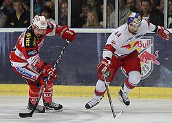 07.04.2011, Volksgarten Arena, Salzburg, AUT, EBEL, FINALE, EC RED BULL SALZBURG vs EC KAC, im Bild Douglas Lynch, (EC RED BULL SALZBURG, #44) im Zweikampf mit Johannes Kirisits, (EC KAC, #13)// during the EBEL Eishockey Final, EC RED BULL SALZBURG vs EC KAC at the Volksgarten Arena, Salzburg, 04/03/2011, EXPA Pictures © 2011, PhotoCredit: EXPA/ D. Scharinger