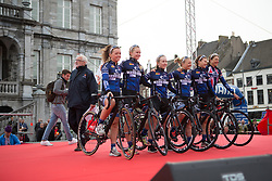 Hitec Products Cycling Team stand on the podium before the Amstel Gold Race Ladies Edition - a 121.6 km road race, between  Maastricht and Valkenburg on April 16, 2017, in Limburg, Netherlands.