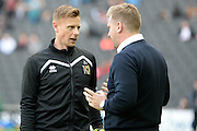 Milton Keynes Dons goalkeeper David Martin (1) gets instructions from Milton Keynes Dons manager Karl Robinson  during the EFL Sky Bet League 1 match between Milton Keynes Dons and Port Vale at stadium:mk, Milton Keynes, England on 9 October 2016. Photo by Dennis Goodwin.
