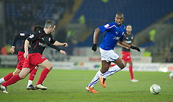 CARDIFF, WALES - Tuesday, February 1, 2011: Cardiff City's Jay Emmanuel-Thomas takes on two Reading defenders during the Football League Championship match at the Cardiff City Stadium. (Photo by Gareth Davies/Propaganda)