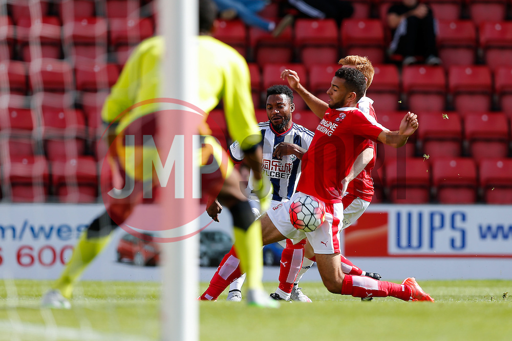 Stephane Sessegnon of West Brom shoots - Mandatory byline: Rogan Thomson/JMP - 07966 386802 - 25/07/2015 - SPORT - Football - Swindon, England - The County Ground - Swindon Town v West Bromwich Albion - 2015/16 Pre Season Friendly.
