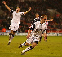 Photo: Aidan Ellis.<br /> Sheffield United v Swansea City. The FA Cup. 06/01/2007.<br /> Swansea's Thomas Butler turns to celebrate scoring the first goal